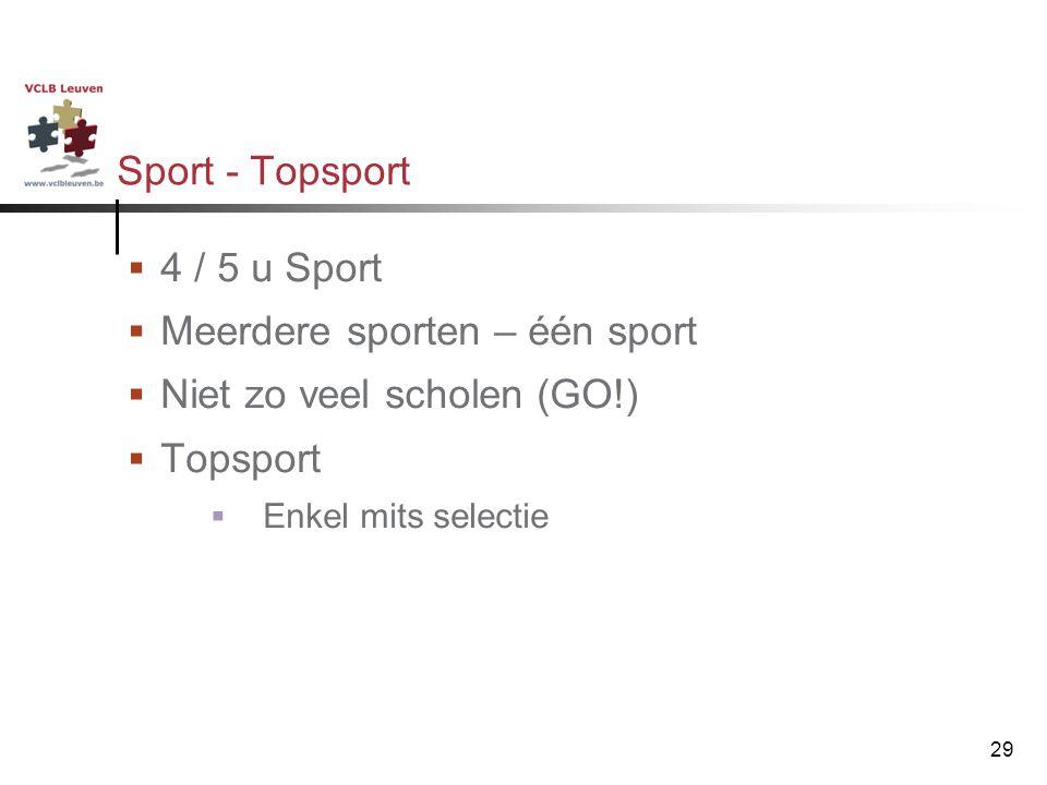 29 Sport - Topsport  4 / 5 u Sport  Meerdere sporten – één sport  Niet zo veel scholen (GO!)  Topsport  Enkel mits selectie