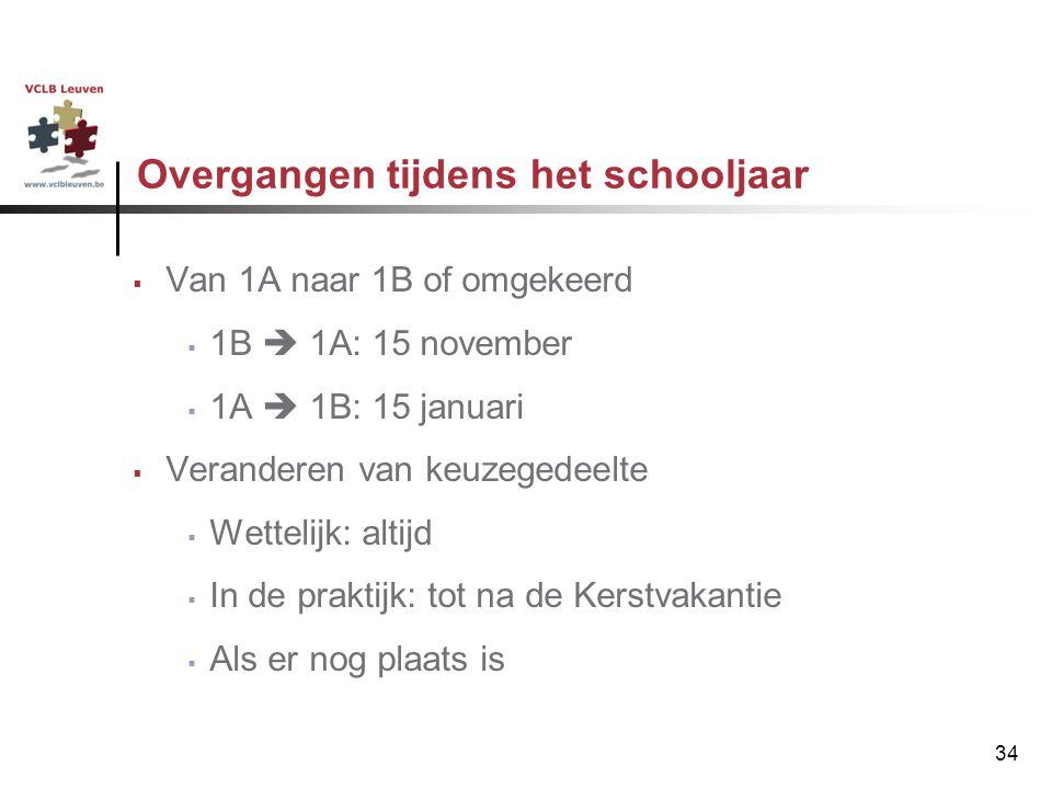 34 Overgangen tijdens het schooljaar  Van 1A naar 1B of omgekeerd  1B  1A: 15 november  1A  1B: 15 januari  Veranderen van keuzegedeelte  Wette