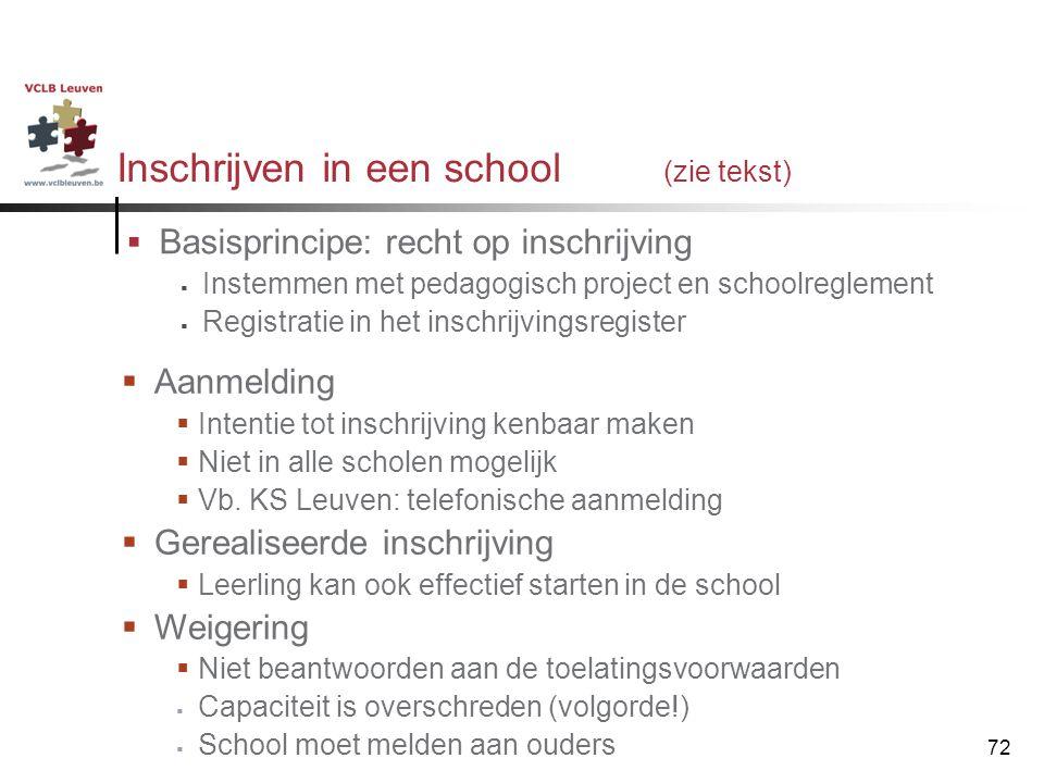72 Inschrijven in een school (zie tekst)  Basisprincipe: recht op inschrijving  Instemmen met pedagogisch project en schoolreglement  Registratie i
