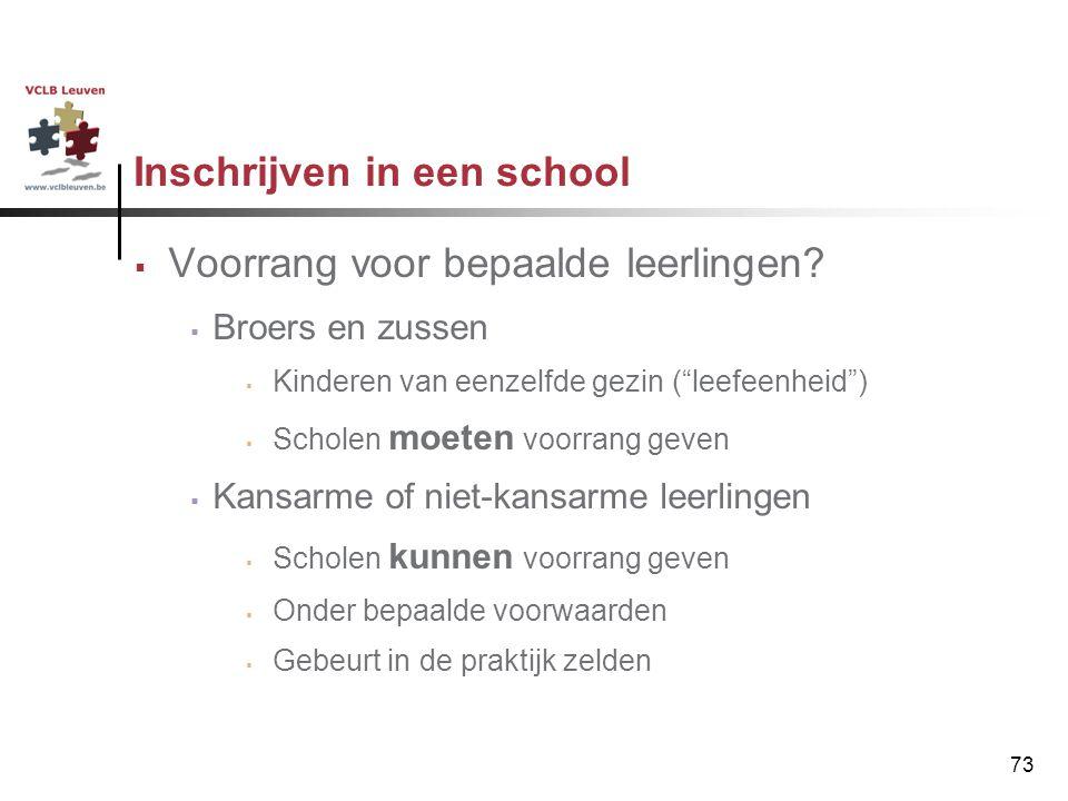"""73 Inschrijven in een school  Voorrang voor bepaalde leerlingen?  Broers en zussen  Kinderen van eenzelfde gezin (""""leefeenheid"""")  Scholen moeten v"""