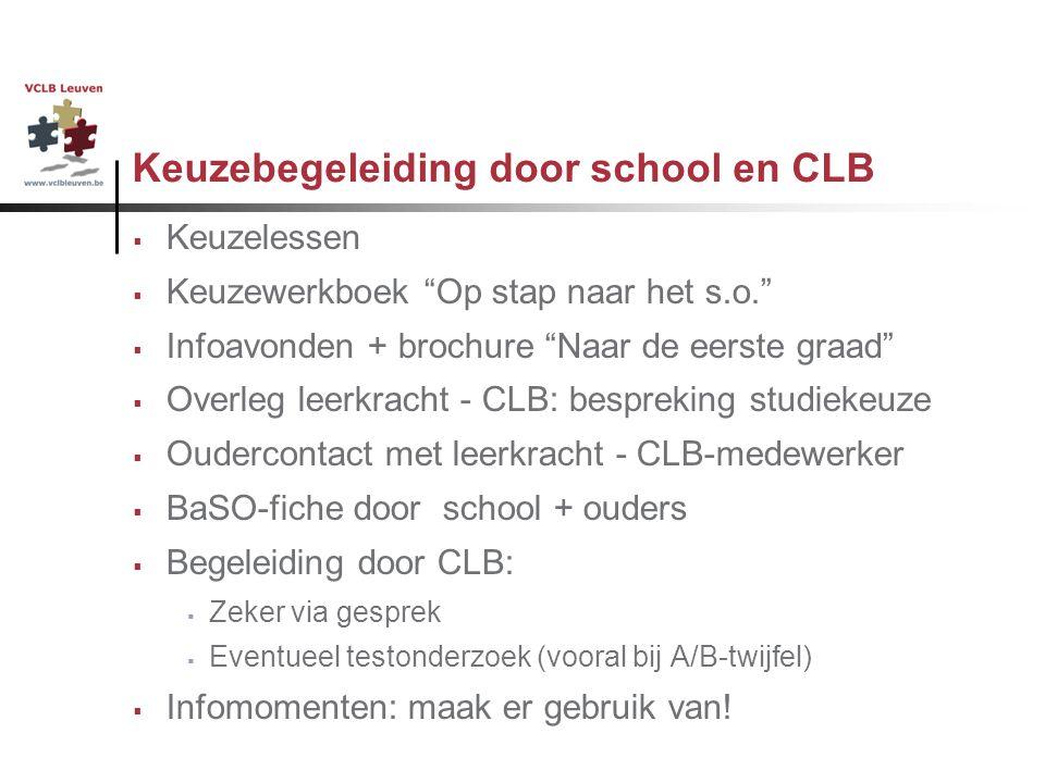 """Keuzebegeleiding door school en CLB  Keuzelessen  Keuzewerkboek """"Op stap naar het s.o.""""  Infoavonden + brochure """"Naar de eerste graad""""  Overleg le"""