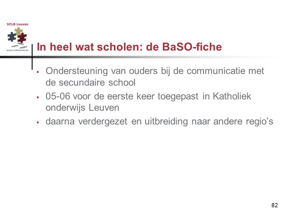 82 In heel wat scholen: de BaSO-fiche  Ondersteuning van ouders bij de communicatie met de secundaire school  05-06 voor de eerste keer toegepast in