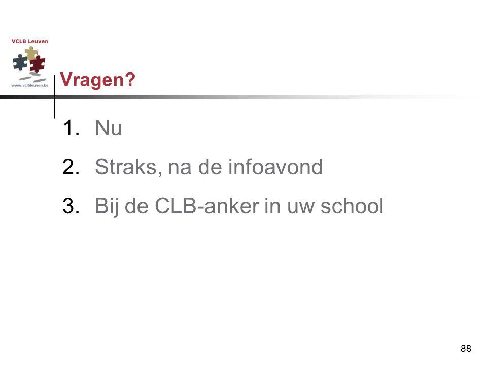 88 Vragen? 1.Nu 2.Straks, na de infoavond 3.Bij de CLB-anker in uw school