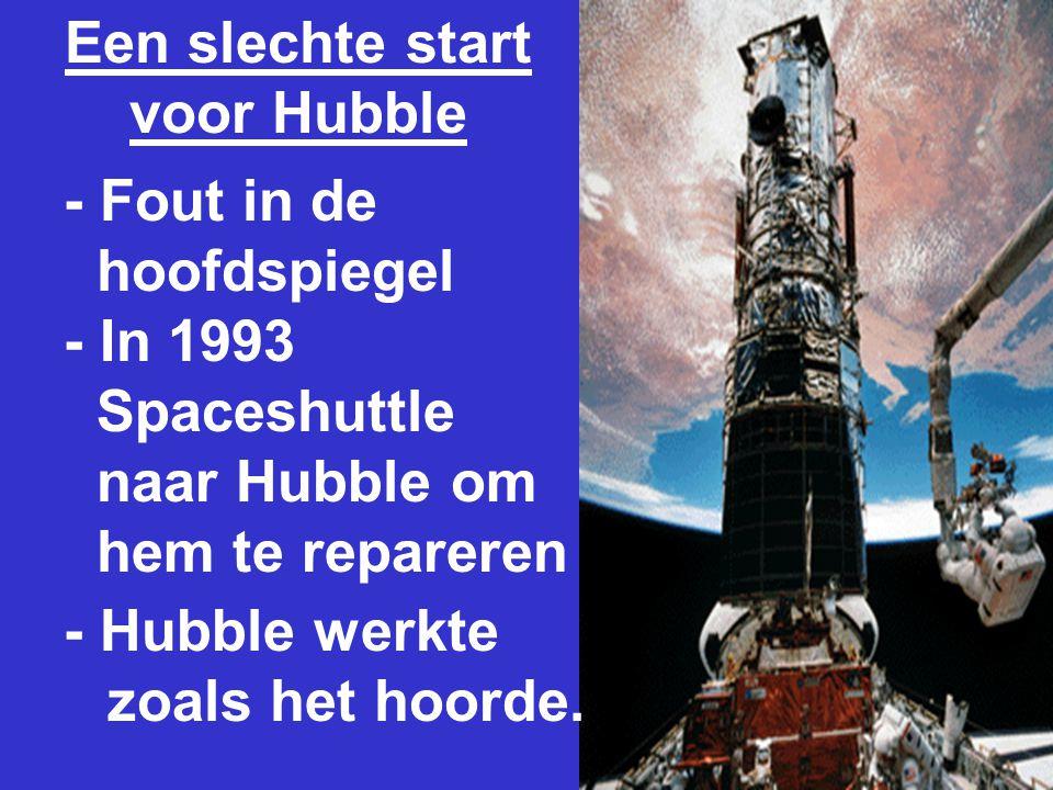 Een slechte start voor Hubble - Fout in de hoofdspiegel - In 1993 Spaceshuttle naar Hubble om hem te repareren - Hubble werkte zoals het hoorde.