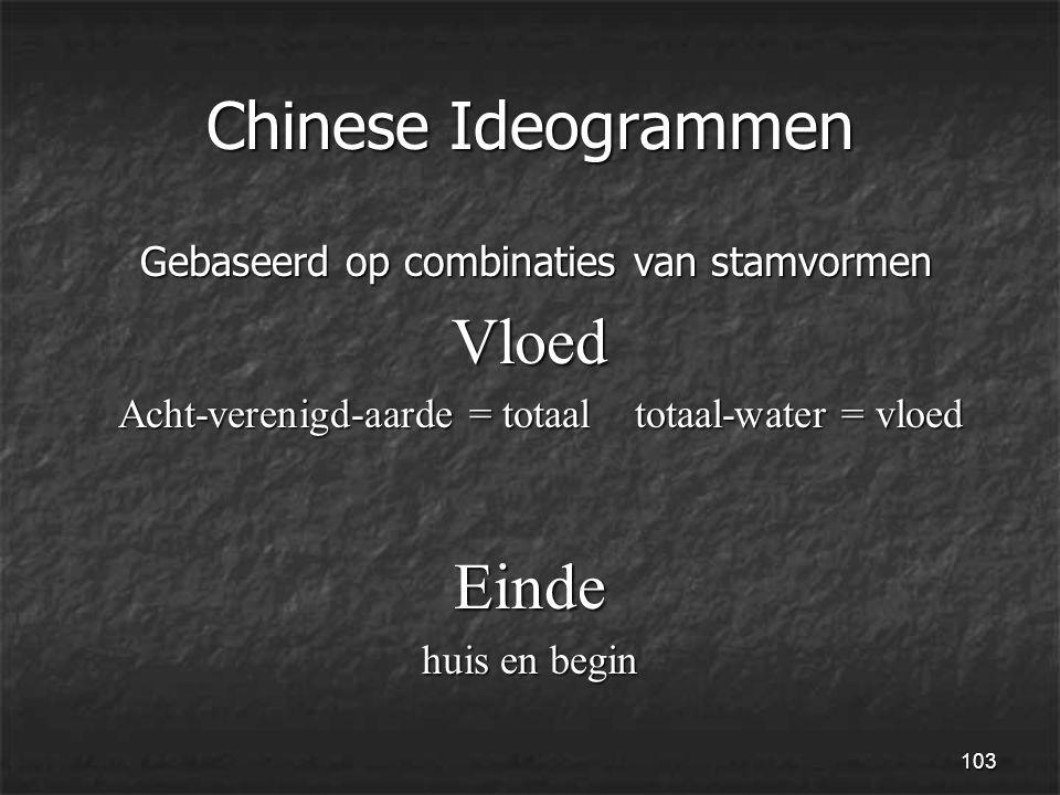 103 Chinese Ideogrammen Gebaseerd op combinaties van stamvormen Gebaseerd op combinaties van stamvormenVloed Acht-verenigd-aarde = totaal totaal-water = vloed Acht-verenigd-aarde = totaal totaal-water = vloedEinde huis en begin
