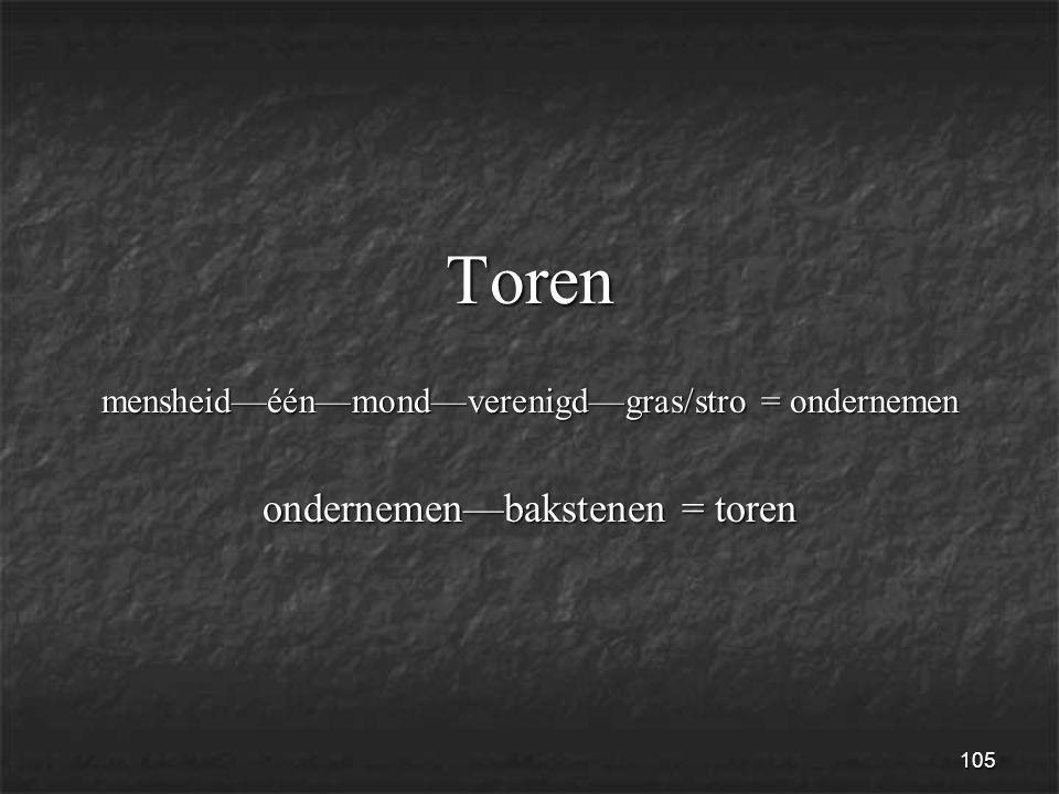 105 Toren mensheid—één—mond—verenigd—gras/stro = ondernemen ondernemen—bakstenen = toren