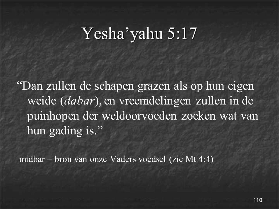 110 Yesha'yahu 5:17 Dan zullen de schapen grazen als op hun eigen weide (dabar), en vreemdelingen zullen in de puinhopen der weldoorvoeden zoeken wat van hun gading is. midbar – bron van onze Vaders voedsel (zie Mt 4:4)