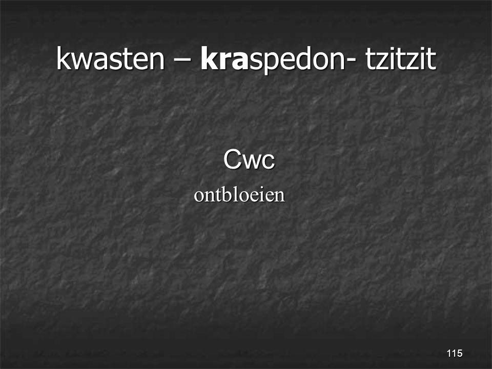 115 kwasten – kraspedon- tzitzit Cwc Cwc ontbloeien ontbloeien