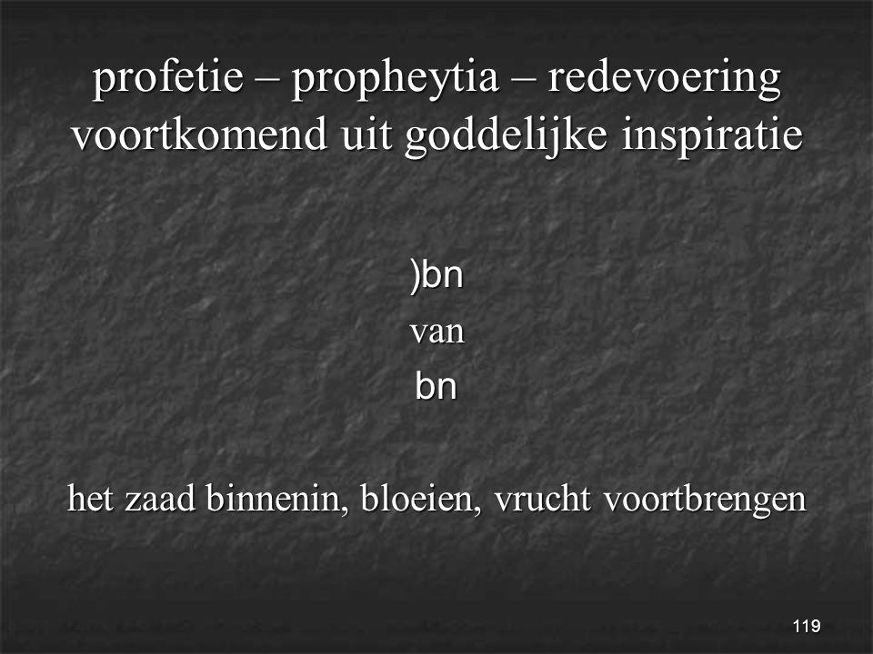 119 profetie – propheytia – redevoering voortkomend uit goddelijke inspiratie )bnvanbn het zaad binnenin, bloeien, vrucht voortbrengen