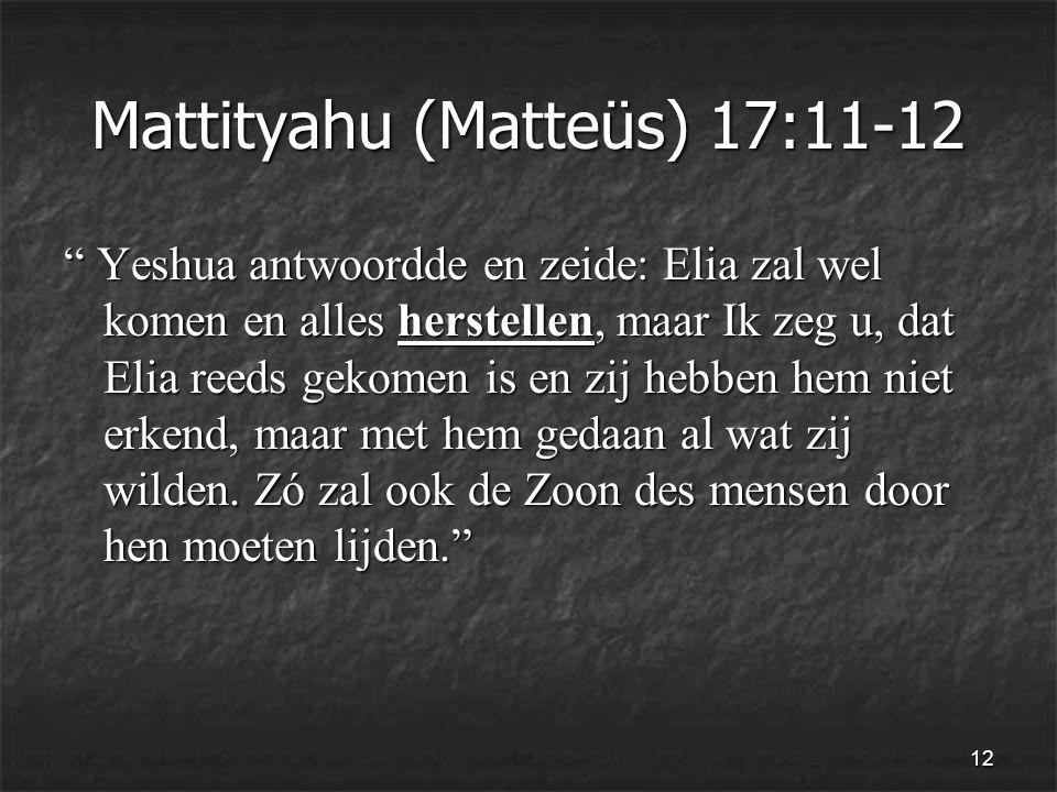 12 Mattityahu (Matteüs) 17:11-12 Yeshua antwoordde en zeide: Elia zal wel komen en alles herstellen, maar Ik zeg u, dat Elia reeds gekomen is en zij hebben hem niet erkend, maar met hem gedaan al wat zij wilden.