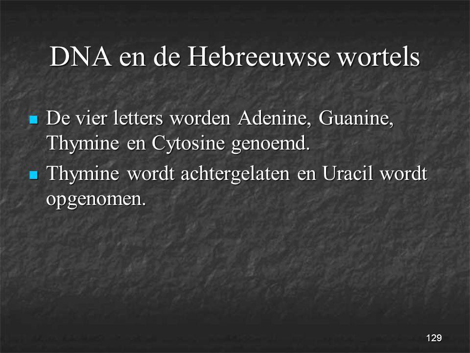 129 DNA en de Hebreeuwse wortels  De vier letters worden Adenine, Guanine, Thymine en Cytosine genoemd.