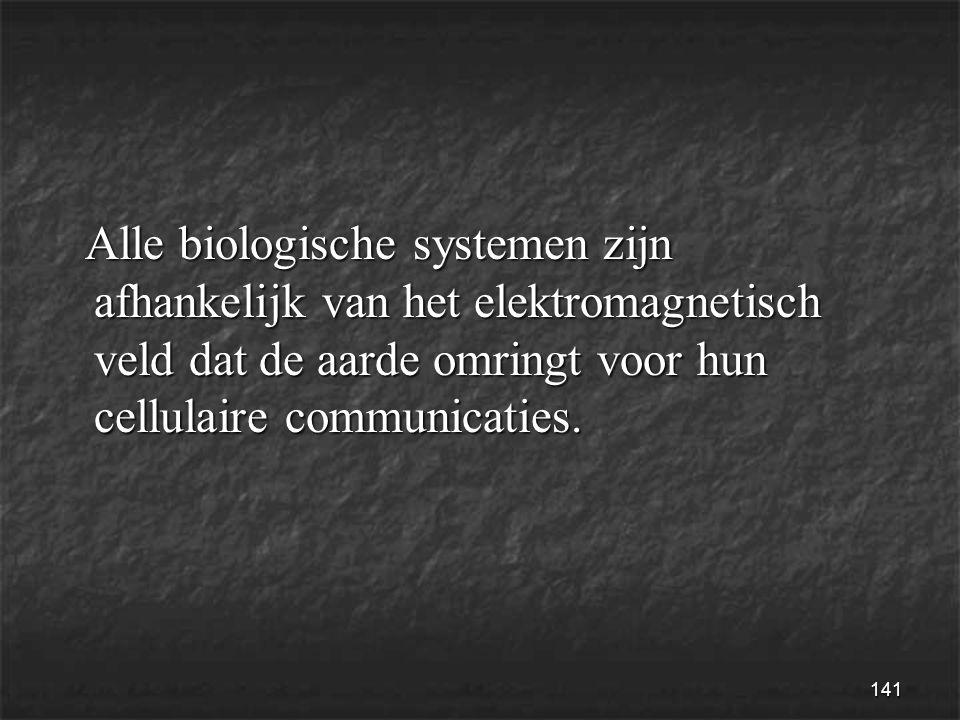 141 Alle biologische systemen zijn afhankelijk van het elektromagnetisch veld dat de aarde omringt voor hun cellulaire communicaties.