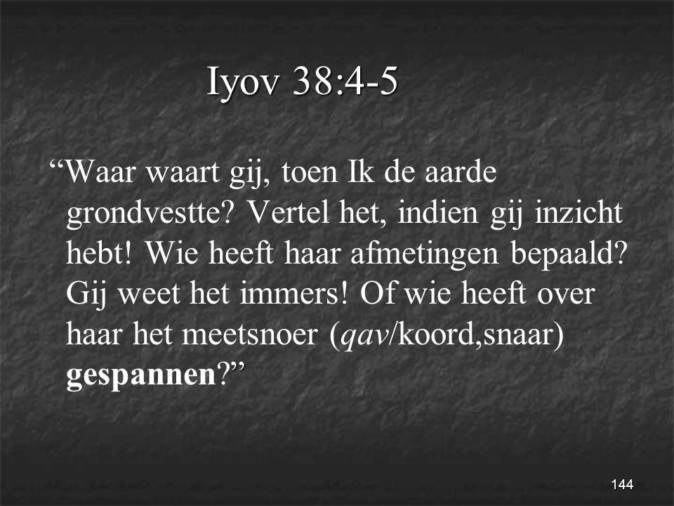 144 Iyov 38:4-5 Waar waart gij, toen Ik de aarde grondvestte.