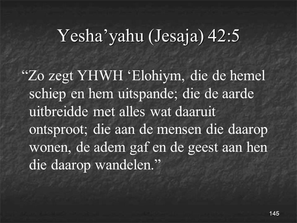 145 Yesha'yahu (Jesaja) 42:5 Zo zegt YHWH 'Elohiym, die de hemel schiep en hem uitspande; die de aarde uitbreidde met alles wat daaruit ontsproot; die aan de mensen die daarop wonen, de adem gaf en de geest aan hen die daarop wandelen.