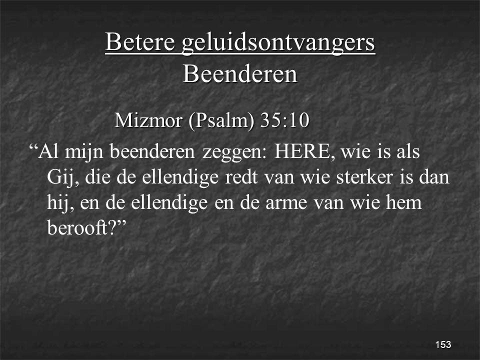 153 Betere geluidsontvangers Beenderen Mizmor (Psalm) 35:10 Mizmor (Psalm) 35:10 Al mijn beenderen zeggen: HERE, wie is als Gij, die de ellendige redt van wie sterker is dan hij, en de ellendige en de arme van wie hem berooft