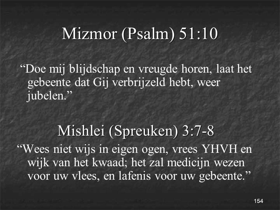 154 Mizmor (Psalm) 51:10 Doe mij blijdschap en vreugde horen, laat het gebeente dat Gij verbrijzeld hebt, weer jubelen. Mishlei (Spreuken) 3:7-8 Mishlei (Spreuken) 3:7-8 Wees niet wijs in eigen ogen, vrees YHVH en wijk van het kwaad; het zal medicijn wezen voor uw vlees, en lafenis voor uw gebeente.