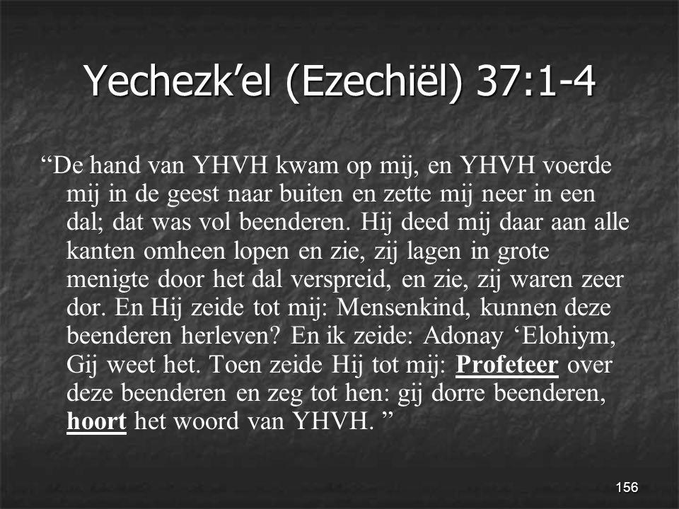 156 Yechezk'el (Ezechiël) 37:1-4 De hand van YHVH kwam op mij, en YHVH voerde mij in de geest naar buiten en zette mij neer in een dal; dat was vol beenderen.