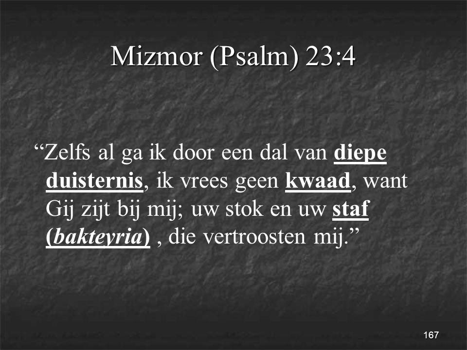 167 Mizmor (Psalm) 23:4 Zelfs al ga ik door een dal van diepe duisternis, ik vrees geen kwaad, want Gij zijt bij mij; uw stok en uw staf (bakteyria), die vertroosten mij.