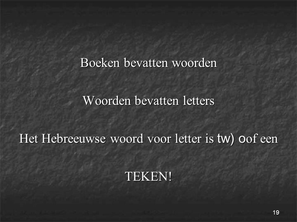 19 Boeken bevatten woorden Woorden bevatten letters Het Hebreeuwse woord voor letter is tw) o of een TEKEN!