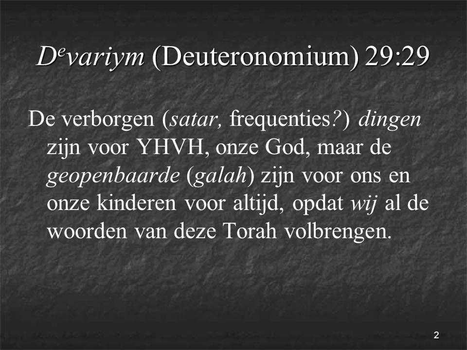 2 D e variym (Deuteronomium) 29:29 De verborgen (satar, frequenties ) dingen zijn voor YHVH, onze God, maar de geopenbaarde (galah) zijn voor ons en onze kinderen voor altijd, opdat wij al de woorden van deze Torah volbrengen.