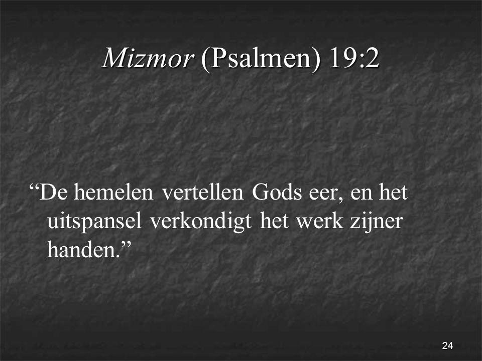 24 Mizmor (Psalmen) 19:2 De hemelen vertellen Gods eer, en het uitspansel verkondigt het werk zijner handen.