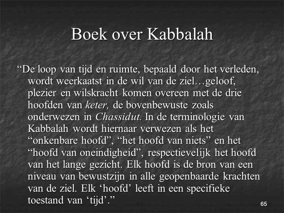 65 Boek over Kabbalah De loop van tijd en ruimte, bepaald door het verleden, wordt weerkaatst in de wil van de ziel…geloof, plezier en wilskracht komen overeen met de drie hoofden van keter, de bovenbewuste zoals onderwezen in Chassidut.
