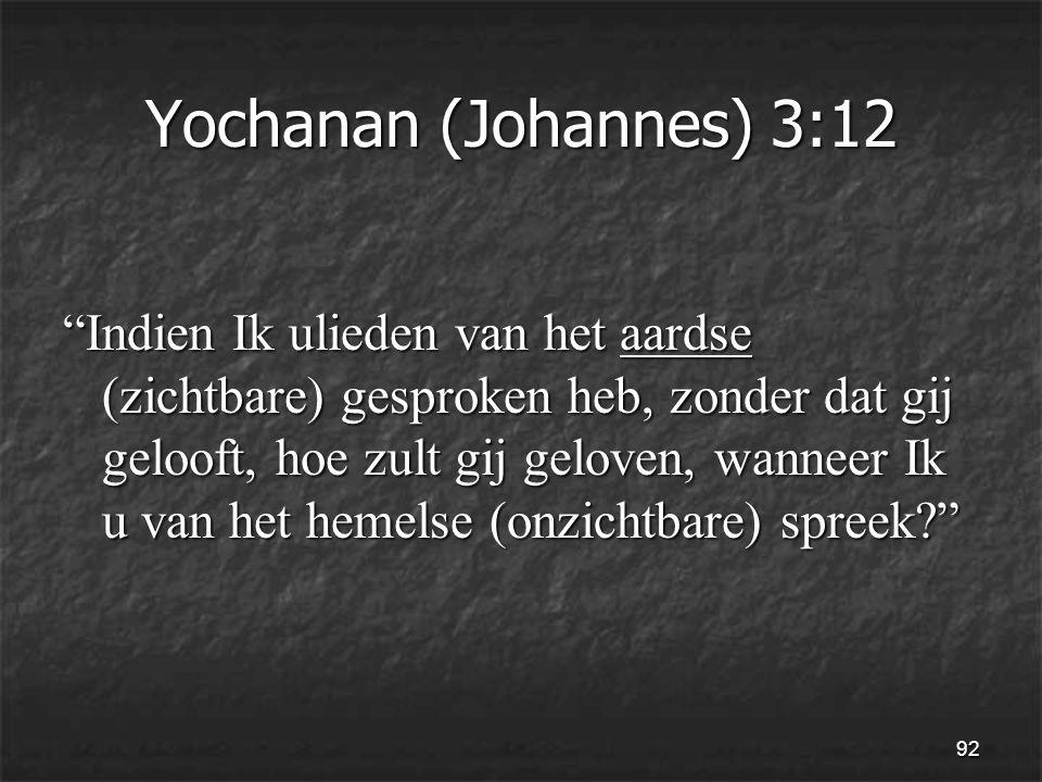 92 Yochanan (Johannes) 3:12 Indien Ik ulieden van het aardse (zichtbare) gesproken heb, zonder dat gij gelooft, hoe zult gij geloven, wanneer Ik u van het hemelse (onzichtbare) spreek
