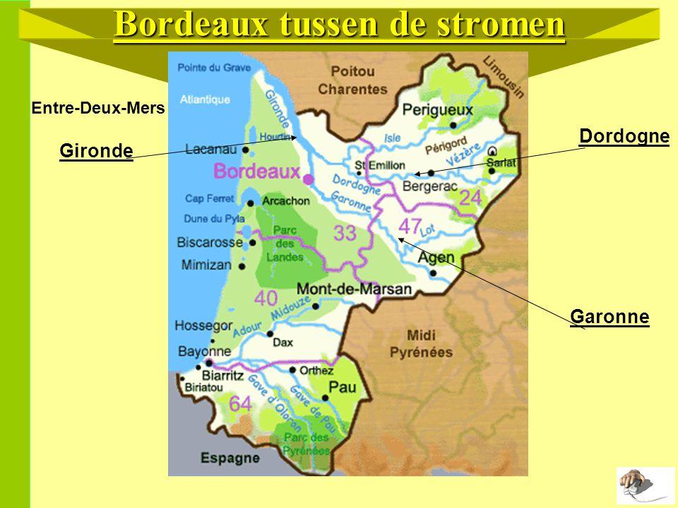 Bordeaux tussen de stromen Gironde Dordogne Garonne Entre-Deux-Mers