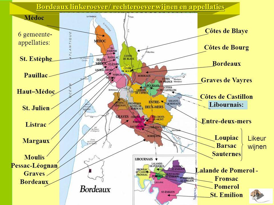 Médoc 6 gemeente- appellaties: St.Estèphe Pauillac Haut–Médoc St.