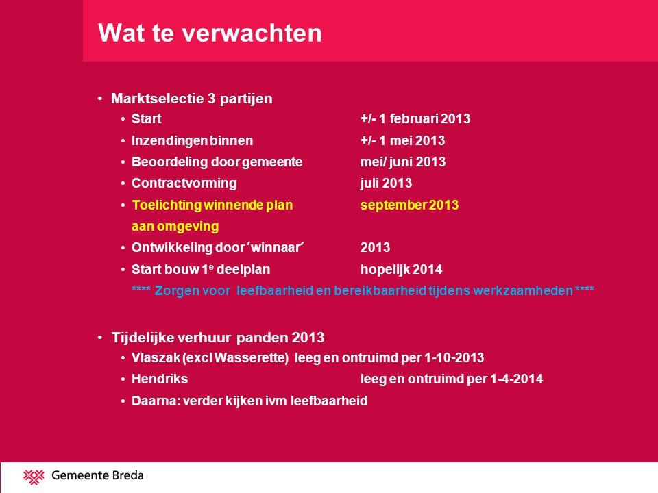 Wat te verwachten •Marktselectie 3 partijen •Start +/- 1 februari 2013 •Inzendingen binnen+/- 1 mei 2013 •Beoordeling door gemeentemei/ juni 2013 •Contractvormingjuli 2013 •Toelichting winnende plan september 2013 aan omgeving •Ontwikkeling door 'winnaar'2013 •Start bouw 1 e deelplanhopelijk 2014 **** Zorgen voor leefbaarheid en bereikbaarheid tijdens werkzaamheden **** •Tijdelijke verhuur panden 2013 •Vlaszak (excl Wasserette)leeg en ontruimd per 1-10-2013 •Hendriksleeg en ontruimd per 1-4-2014 •Daarna: verder kijken ivm leefbaarheid