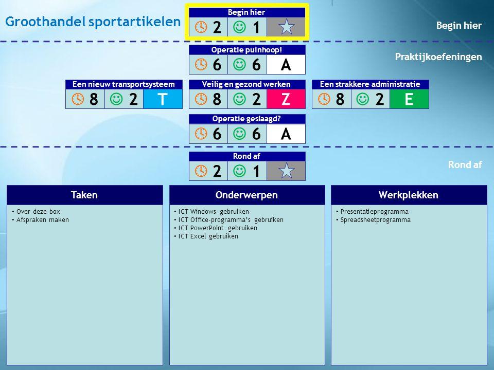 • Stel een nieuwsbrief op • Kies de beste verzendmethode • Zorg voor een goede werkverdeling • ALG Vergaderagenda opstellen • ICT Windows gebruiken • ICT Office-programma's gebruiken • ICT Word gebruiken: tekst • ICT Excel gebruiken • ALG Notulen maken • ICT Word gebruiken: opmaak • Tekstverwerkingsprogramma • Spreadsheetprogramma TakenOnderwerpenWerkplekken  2 2  1 1 Begin hier  6 6  6 6A Operatie puinhoop.