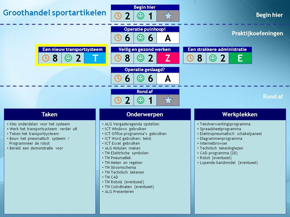 • Kies onderdelen voor het systeem • Werk het transportsysteem verder uit • Teken het transportsysteem • Bouw het pneumatisch systeem / Programmeer de