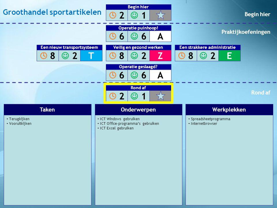 • Terugkijken • Vooruitkijken • ICT Windows gebruiken • ICT Office-programma's gebruiken • ICT Excel gebruiken • Spreadsheetprogramma • Internetbrowse