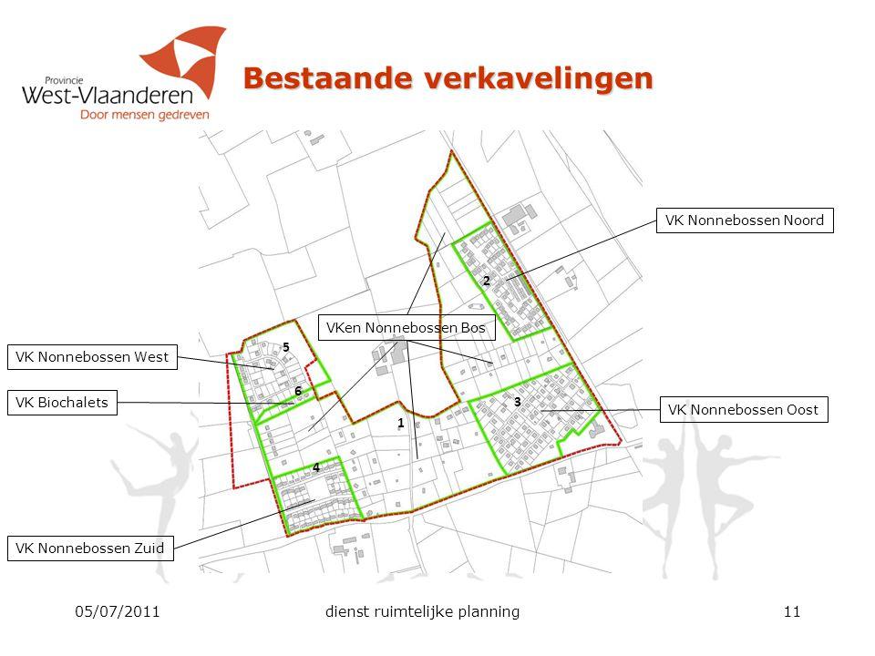 05/07/2011dienst ruimtelijke planning11 Bestaande verkavelingen 1 6 5 4 3 2 VK Nonnebossen West VK Nonnebossen Zuid VK Nonnebossen Oost VK Nonnebossen