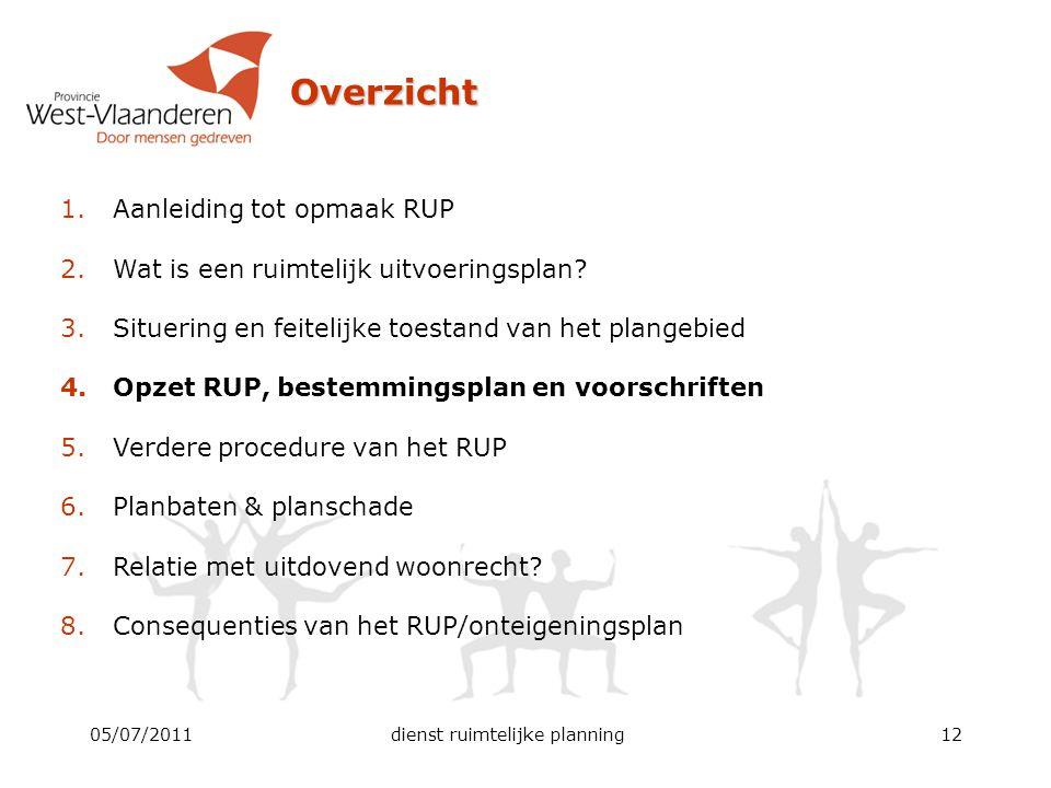 05/07/2011dienst ruimtelijke planning12 Overzicht 1.Aanleiding tot opmaak RUP 2.Wat is een ruimtelijk uitvoeringsplan? 3.Situering en feitelijke toest