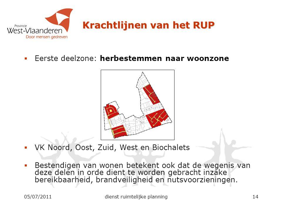 Krachtlijnen van het RUP 05/07/2011dienst ruimtelijke planning14  Eerste deelzone: herbestemmen naar woonzone  VK Noord, Oost, Zuid, West en Biochal