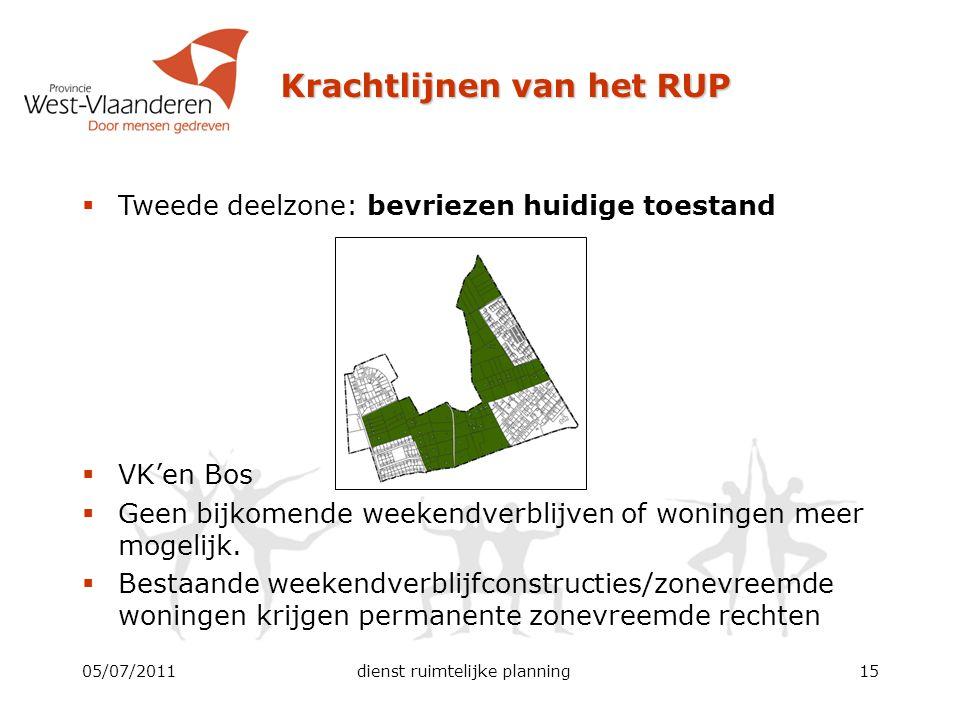 Krachtlijnen van het RUP 05/07/2011dienst ruimtelijke planning15  Tweede deelzone: bevriezen huidige toestand  VK'en Bos  Geen bijkomende weekendve