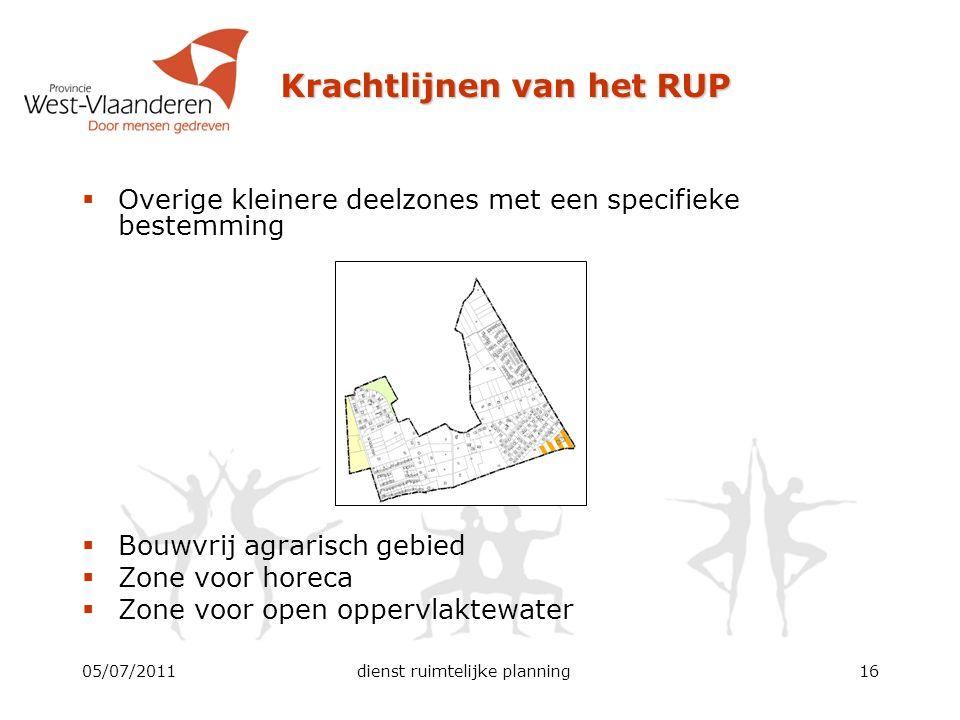 Krachtlijnen van het RUP 05/07/2011dienst ruimtelijke planning16  Overige kleinere deelzones met een specifieke bestemming  Bouwvrij agrarisch gebie