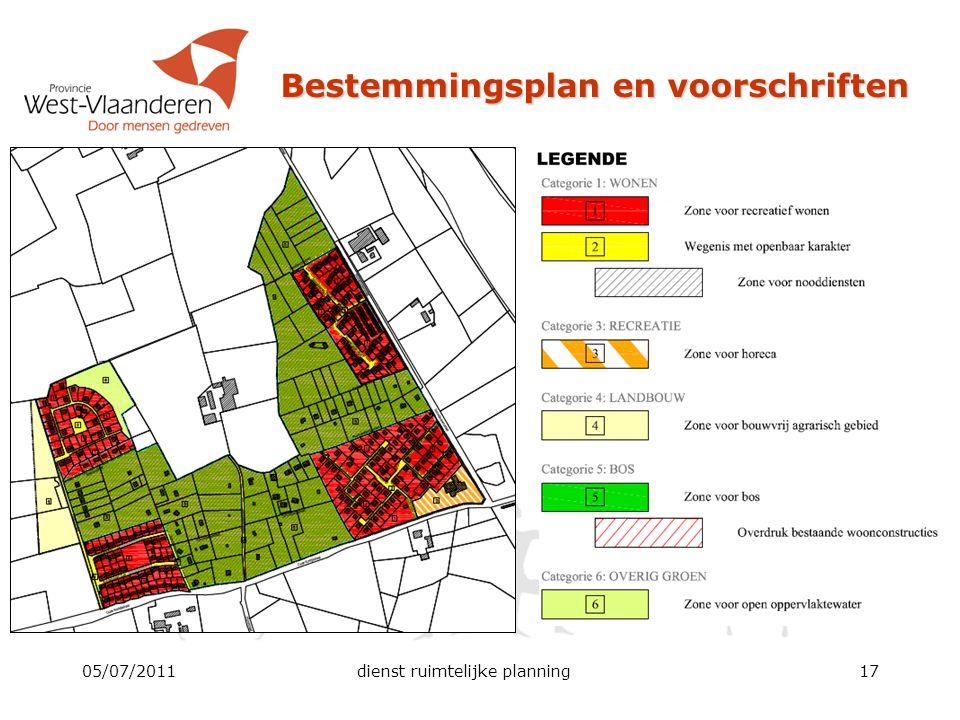 Bestemmingsplan en voorschriften 05/07/2011dienst ruimtelijke planning17