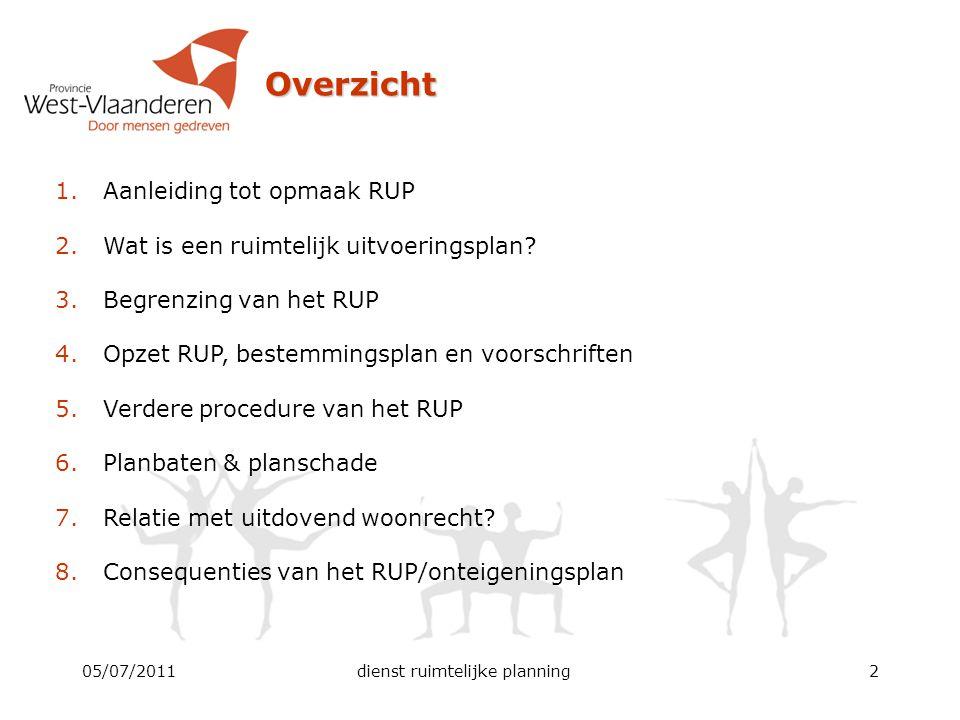 05/07/2011dienst ruimtelijke planning2 Overzicht 1.Aanleiding tot opmaak RUP 2.Wat is een ruimtelijk uitvoeringsplan? 3.Begrenzing van het RUP 4.Opzet