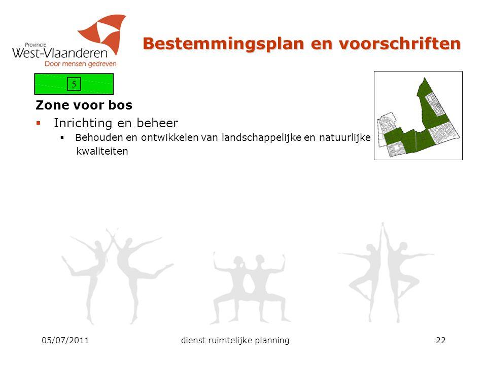 Bestemmingsplan en voorschriften Zone voor bos  Inrichting en beheer  Behouden en ontwikkelen van landschappelijke en natuurlijke kwaliteiten 05/07/