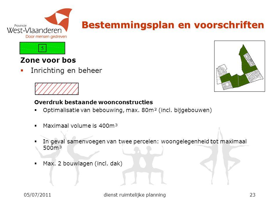 Bestemmingsplan en voorschriften Zone voor bos  Inrichting en beheer Overdruk bestaande woonconstructies  Optimalisatie van bebouwing, max. 80m² (in