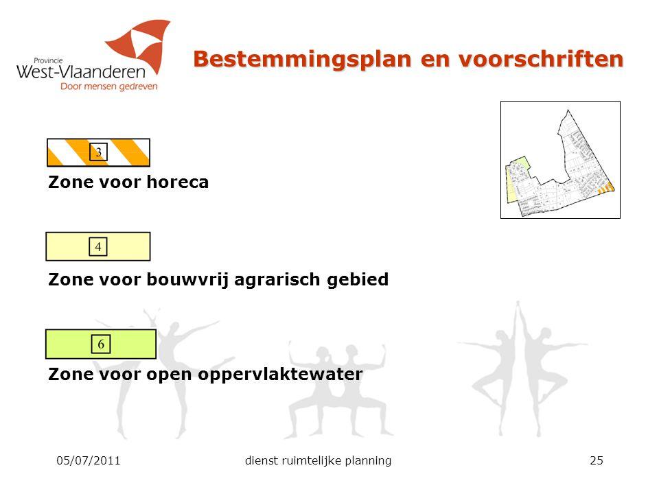 Bestemmingsplan en voorschriften Zone voor horeca Zone voor bouwvrij agrarisch gebied Zone voor open oppervlaktewater 05/07/2011dienst ruimtelijke pla