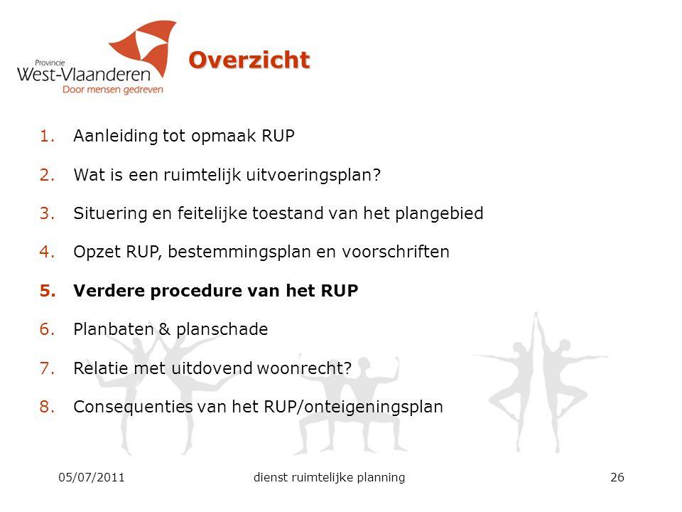 05/07/2011dienst ruimtelijke planning26 Overzicht 1.Aanleiding tot opmaak RUP 2.Wat is een ruimtelijk uitvoeringsplan? 3.Situering en feitelijke toest