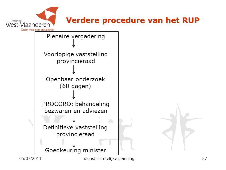 Verdere procedure van het RUP 05/07/2011dienst ruimtelijke planning27 Plenaire vergadering Voorlopige vaststelling provincieraad Openbaar onderzoek (6