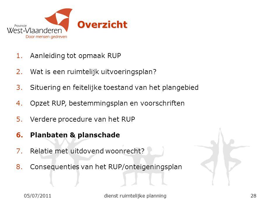 05/07/2011dienst ruimtelijke planning28 Overzicht 1.Aanleiding tot opmaak RUP 2.Wat is een ruimtelijk uitvoeringsplan? 3.Situering en feitelijke toest