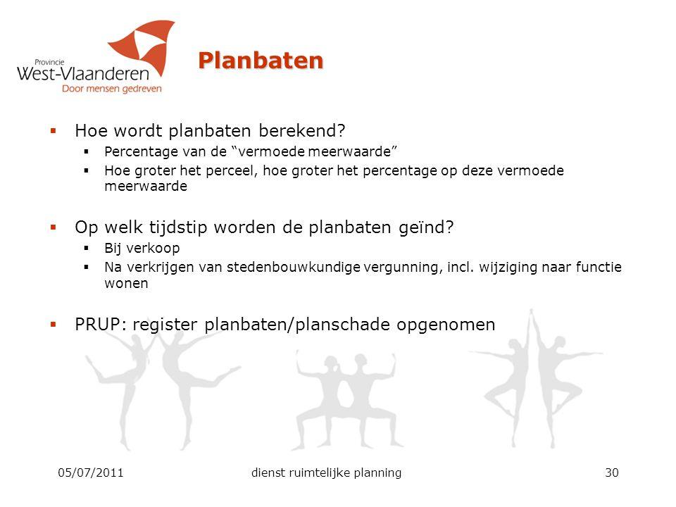 """Planbaten  Hoe wordt planbaten berekend?  Percentage van de """"vermoede meerwaarde""""  Hoe groter het perceel, hoe groter het percentage op deze vermoe"""