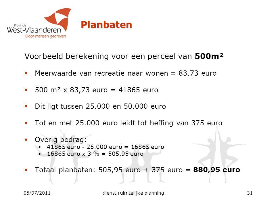 Planbaten 05/07/2011dienst ruimtelijke planning31 Voorbeeld berekening voor een perceel van 500m²  Meerwaarde van recreatie naar wonen = 83.73 euro 