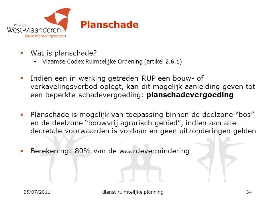 Planschade  Wat is planschade?  Vlaamse Codex Ruimtelijke Ordening (artikel 2.6.1)  Indien een in werking getreden RUP een bouw- of verkavelingsver