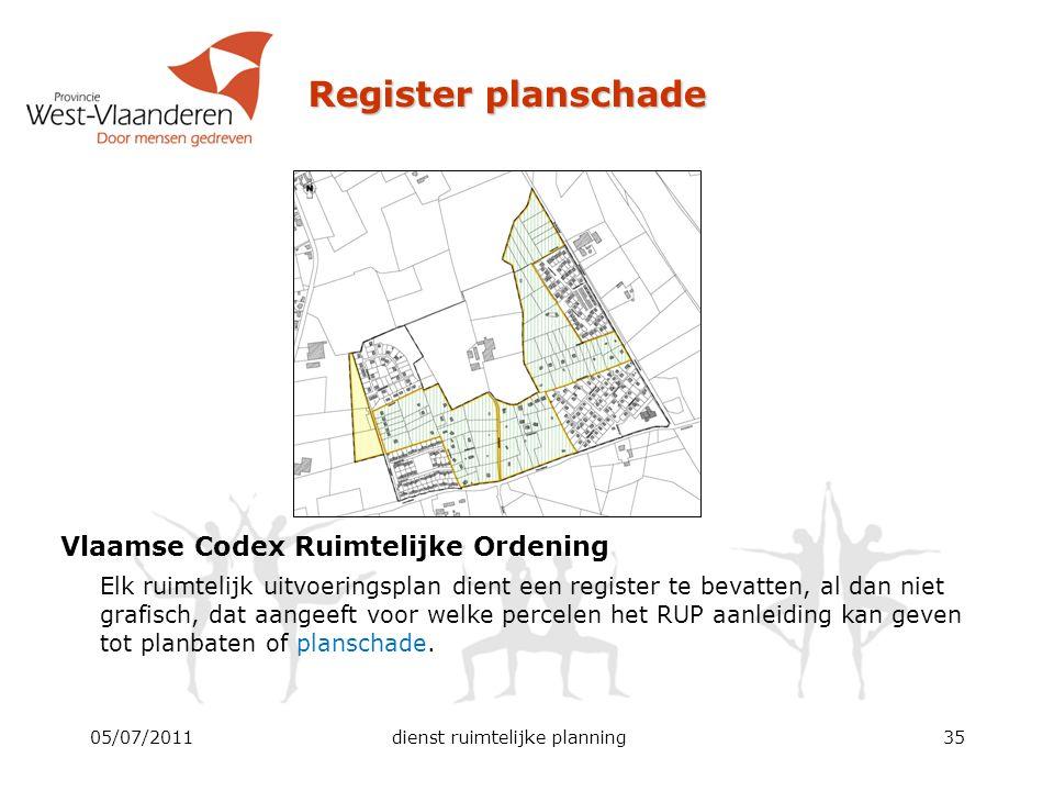 Register planschade Vlaamse Codex Ruimtelijke Ordening Elk ruimtelijk uitvoeringsplan dient een register te bevatten, al dan niet grafisch, dat aangee
